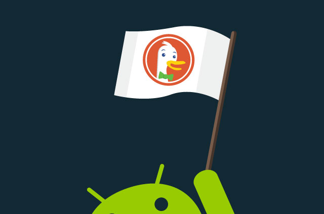 The Android logo waving a DuchDuckGo flag.