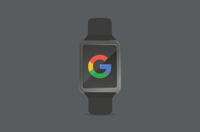 An illustratoin of a smart watch with Google's logo on the face.
