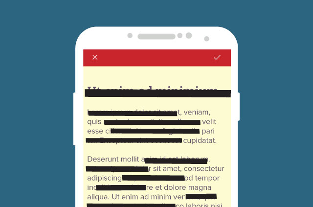 An illustration of a phone showing heavily redacted text on the screen.