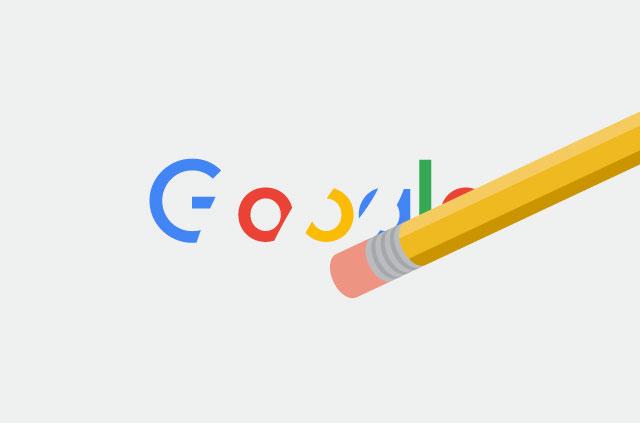 An illustration of an erasor wiping away the Google logo.