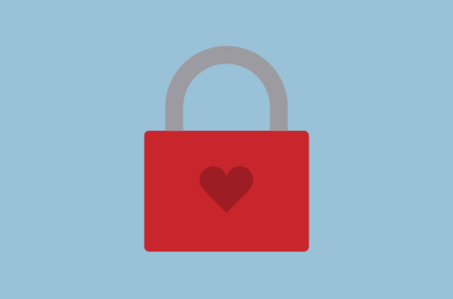 An illustration of a heart-shaped padlock.