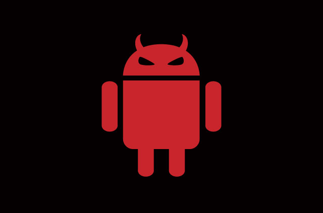 The Android logo, but it's red and has evil eyes.