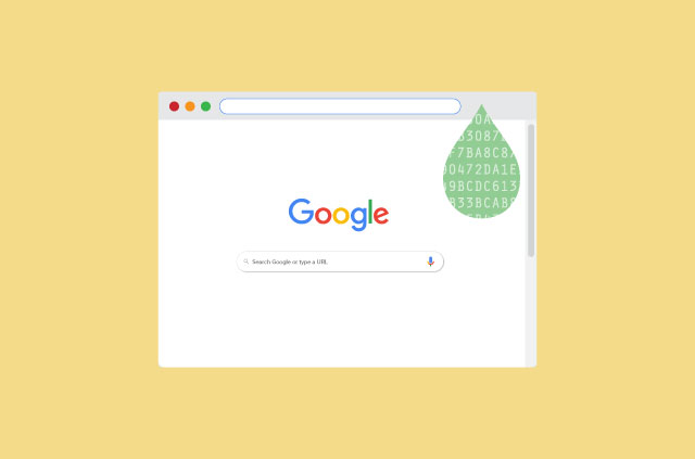 A screenshot of the Google homepage with a tear drop where the extension icon should be.