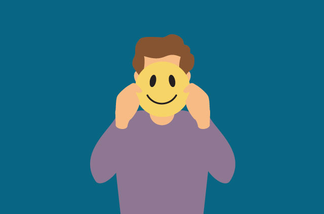 An illustration of a man wearing a smiley-face mask.