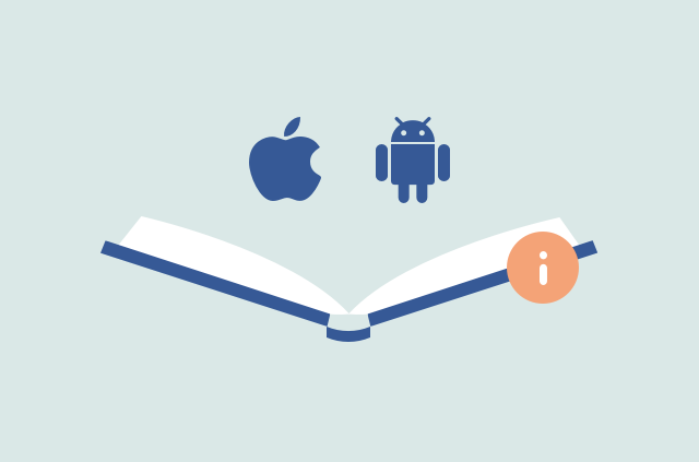 Apple and Android symbols with a book.