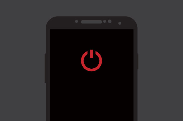 Mobile phone switched off with a red off icon.