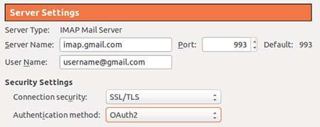 Screenshot of an email settings screen.