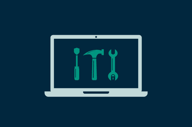 A laptop with a set of tools on the screen.