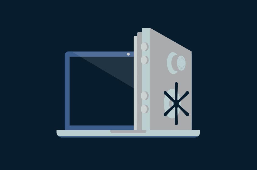 Laptop with a vault door.