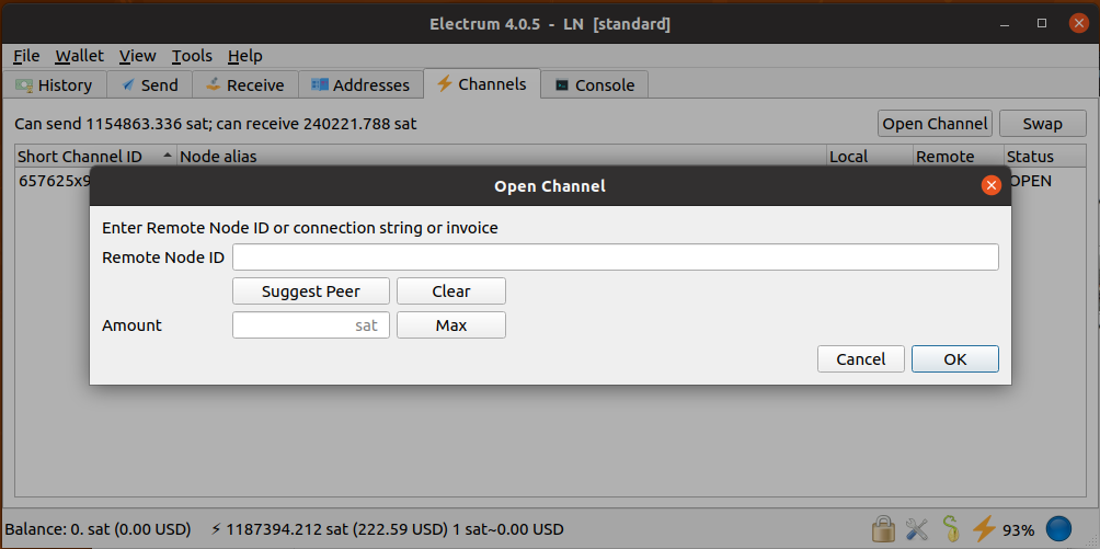 Screenshot of Electrum 4.0.5 showing the Open Channel dialogue