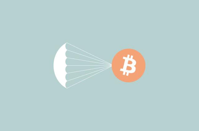 bitcoin logo with parachute