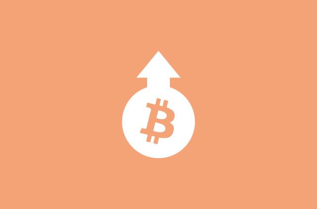 Bitcoin logo with arrow