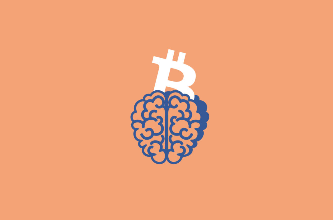 Bitcoin symbol emerging from a brain