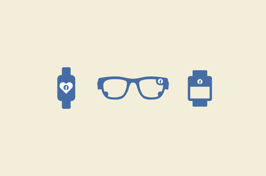 Smartwatch, smart glasses, and wristband with the Facebook logo.