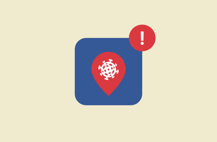 An app button with a virus and location symbol.
