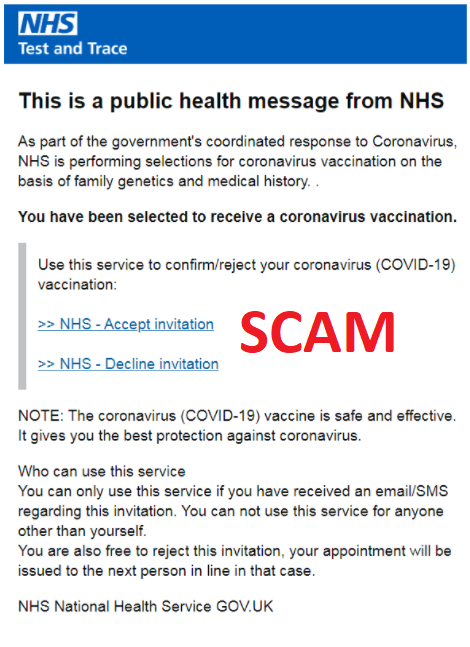 An example of an email vaccine scam.