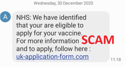 An example of an SMS vaccine scam.