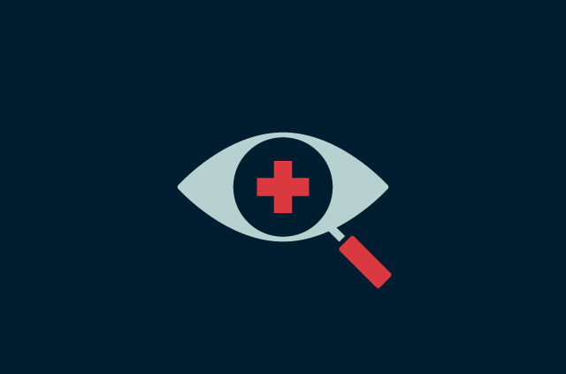 An eye with a magnifying glass and a red cross.