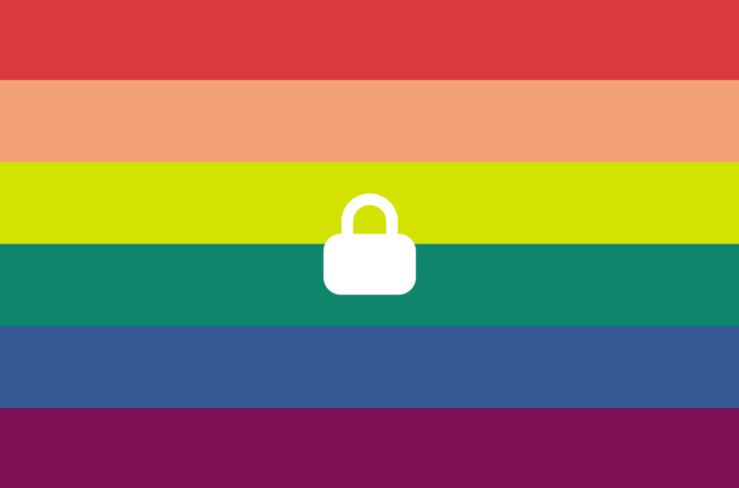 Pride flag with a padlock.