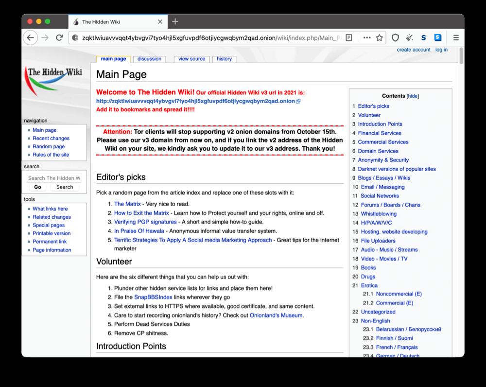 The Hidden Wiki's onion site on the dark web