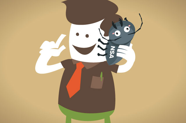 An illustration of a man holding a bug to his ear, as if it were a phone! It's an actual bug, like from Indiana Jones in that tunnel. LOLZ! Oh, and the bug has NSA stamped on it.